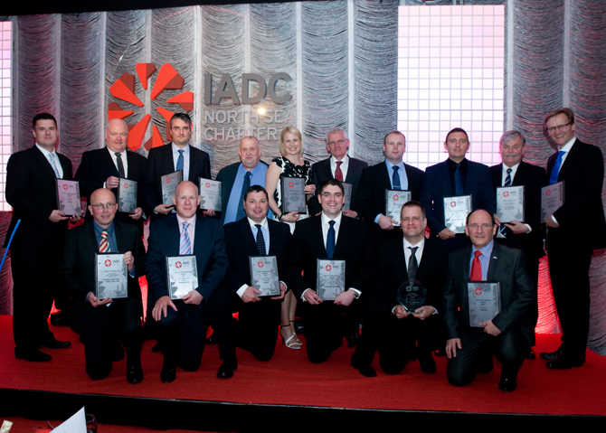 IADC safety awards winners and runners-up 2014, Left to right: Front row: Hans Krielen, Noble Drilling; Mark Milne, Transocean; Jools Coghill, Ensco; Steven Mullen, Northern Offshore; Stuart Hepburn, Archer; John Fraser, Sodexo Back row: Mark Cowieson, Archer; David McMillian, Noble Drilling; Rob Vander Lan, Noble Drilling; Dave Pirie, Archer; Gunni Walker, North Atlantic Drilling; Eddie Fowler, Odfjell Drilling; Andrew White, Stena Drilling; Grant Stevenson, Stena Drilling; Paul Horne, KCA Deutag; Arild Pettersen, KCA Deutag
