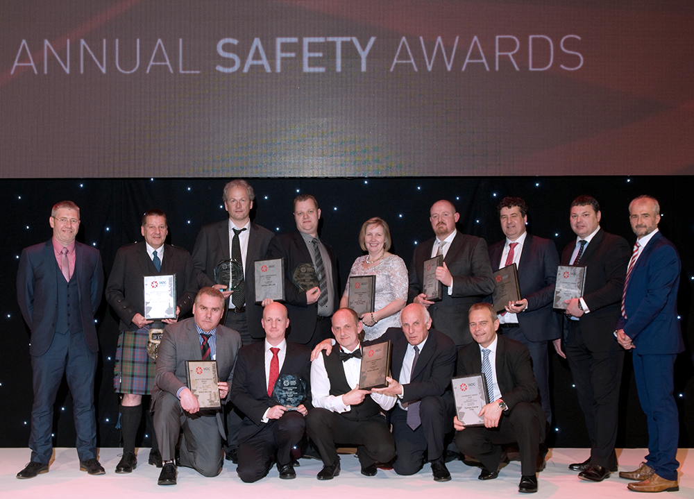 IADC Safety Award Winners and Runners-up 2016 Back row: Ivor McBean, Diamond Offshore (Co-Chair); Alistair McDonald, Odfjell Drilling; Ole Maier, Odfjell Drilling; Henrik Hundebol, Maersk Drilling; Ann Johnson, Blaze Manufacturing Services; Ally Malcolm, Awilco Drilling; Julian Hall, Enso; Jools Coghill, Ensco and Gary Holman, Awilco Drilling (Co-Chair) FRONT ROW: Matt Brodie, Noble Drilling; Stuart Sutherland, KCA Deutag; Geoff Polson, Stena Drilling; Iain Mitchell, Stena Drilling and Ray Taylor, Archer