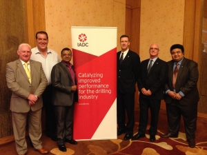 Newly elected South East Asia Chapter officers meet with members of the IADC International Development Division. From left: Graham Buchan, Glenn Gipson, Manav Kumar, Mike DuBose, Derek Morrow and Chit Hlaing
