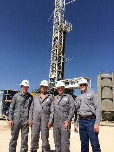 IADC staff tours H&P Rig 605. Pictured Left to Right: Rhett Winter, IADC Director, Onshore Operations; Robert Jolly, Rig Manager, H&P Rig 605; Stephen Colville, IADC President and CEO; Mike Lennox H&P District Manager - West Texas.