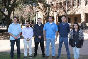 University of Texas students Thomas Shirley, Omid Peimani, Samuel Petzold, Jake Jordan, Anthony Chen and Julia Poliaeva receive scholarships from the IADC Houston Chapter