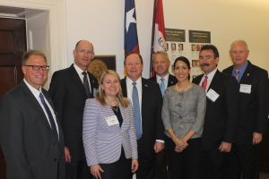 IADC members meet with Texas Congressman Bill Flores in Washington, D.C. (from left) Joey Husband, Nabors Drilling Solutions; Jay Minmier, Nomac Drilling; Liz Craddock, IADC Vice President, Policy and Government Affairs; Congressman Bill Flores; Scott McKee, Cactus Drilling Company; Melissa Mejias, IADC Legislative Assistant; Mike Garvin, Patterson-UTI and Bob Warren, IADC Vice President, Onshore Division