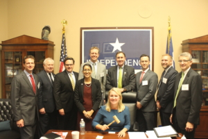 IADC members and staff meet with Congressman Pete Olson of Texas. Pictured from left to right: Mike Lawson, Rowan Companies; Alan Spackman, IADC; Tony Seeliger, Pacific Drilling; Melissa Mejias, IADC; Brady Long, Transocean Ltd.; Congressman Olson, Jason McFarland, IADC; Steven Schappell, Maersk Drilling USA; James Sanislow, Noble Drilling Services, Inc.