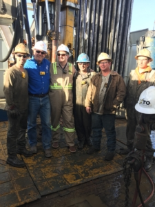 Senator Ted Cruz (third from left), with crew members of the Scan Gold rig during his visit on 20 February.
