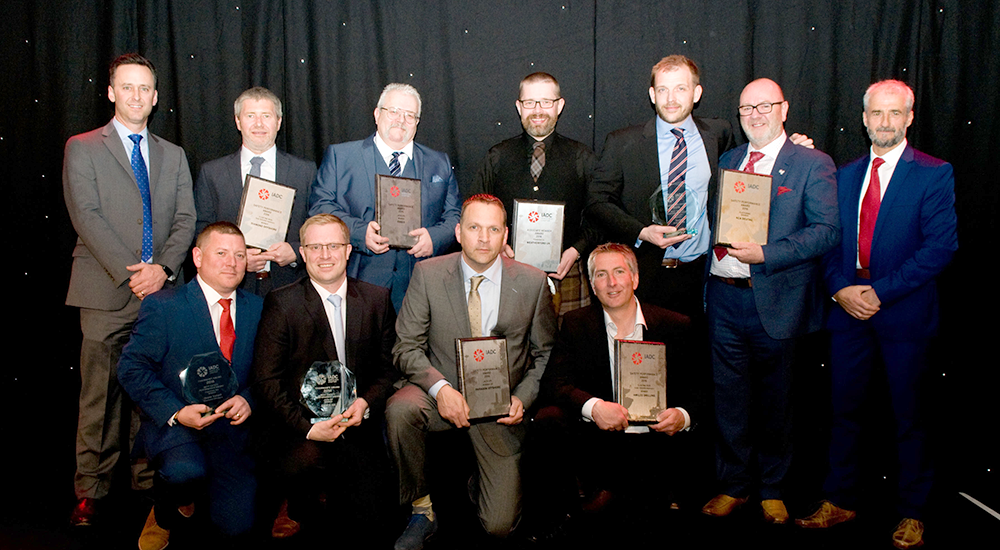 IADC North Sea Chapter Safety Award Winners and Runners-up 2017 BACK ROW: Jason McFarland, IADC (President); Ivor McBean, Diamond Offshore; Dale Stringer, Ensco; Stephen Kidd, Weatherford; Ed Wheler, KCA Deutag; Jim Paterson, KCA Deutag; Gary Holman, Awilco Drilling (Vice Chair) FRONT ROW:  Scott Ewen, Diamond Ofshore; Gavin Carlile, Ensco; Jeroen van Wettum, Paragon Offshore; Mike Brumfield, Awilco Drilling
