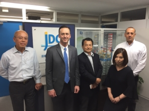 IADC President Jason McFarland visited Japan Drilling and Mantle Quest Japan in Tokyo in late August. Pictured are (from left) Shigeru Mitsuya, Representative Director and Vice President Executive Officer of Japan Drilling; Jason McFarland; Naoto Goto, General Manager – Safety & Environment Department for Japan Drilling; Erika Hashimoto, Chief – Marketing and Contracts Department for Japan Drilling; and Keith Kotval, Assistant General Manager – HSQE Department for Japan Drilling.