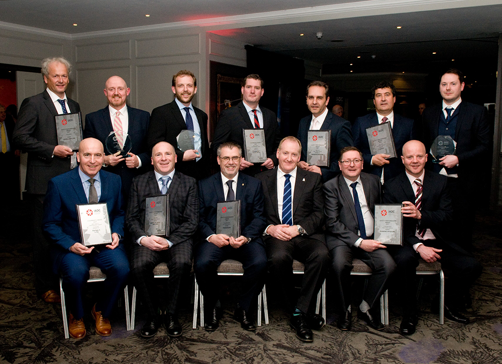 IADC North Sea Chapter Safety Award Winners and Runners-up 2018 BACK ROW:Ole Maier, Odfjell Drilling; Ally Malcolm, Awilco Drilling; Ed Wheler, KCA Deutag; Jasper Goeting, Paragon Offshore, Bram Leerdam, Paragon Offshore; Julian Hall, Ensco; Darren Rainnie, Ensco FRONT ROW: Scott Ewen, Diamond Ofshore; Gavin Carlile, Ensco; Jeroen van Wettum, Paragon Offshore; Mike Brumfield, Awilco Drilling