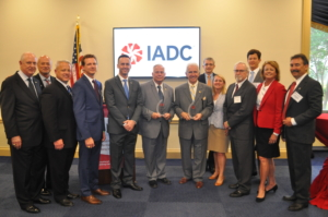 IADC Presents Legislator Awards to Representative Gene Green and Representative Jim Costa on 10 June in Washington, D.C. From Left: Bob Warren, IADC; Mike Bowie, Baker Hughes, a GE Company; Scott McKee, Cactus Drilling; Mike Lawson, Rowan Companies; Jason McFarland, IADC; Representative Green; Representative Costa; James Sanislow, Noble Drilling; Liz Craddock, IADC; Steve Brady, Ensco plc; Chris Menefee, Independence Contract Drilling; Terry Bonno, Transocean and Mike Garvin, Patterson-UTI.