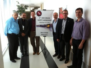 Members attend the IADC Brazil Chapter Safety Workshop. L to R: John Guy, Chapter Secretary; Joao Cabral, Petrobras; Tony Cox, IADC Brazil Regional Director; Hugh Oliver, Chapter Vice President and Event Coordinator; Mark Denkowski, IADC VP Accreditation and Credentialing and Rogerio Furtado, Chapter President.